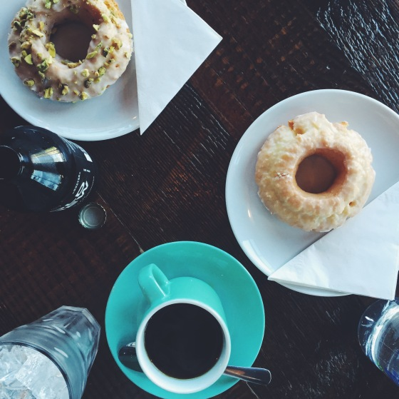 Coffee and donut at 49th Parallel